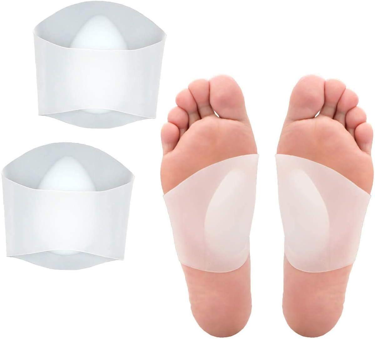 2 pares plantillas de gel para el arco del pie,Mnioky plantillas de gel suave para el apoyo y alivio del dolor para pies planos y fascitis plantar Almohadillas de gel para espolones del talón