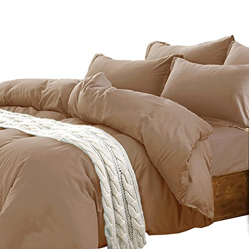 Essina Candies Collection, 100% Cotton 620 thread count Plain Color 2pc Twin Duvet Cover Set, Pillow Sham, Brown Burlywood - Cotton Candy Colors