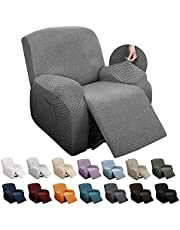 YEMYHOM 4 Pieces Stretch Recliner Slipcover Latest Jacquard Recliner Chair Cover with Side Pocket Anti-Slip Fitted Recliner Cover Couch Furniture Protector with Elastic Bottom (Recliner, Light Gray)