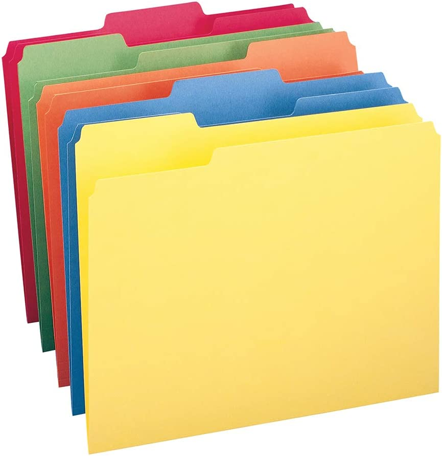 Smead File Folder, 1/3-Cut Tab, Letter Size, Assorted Colors, 100 per Box, (11943) : Colored File Folders : Office Products