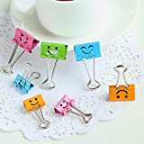 40 pcs/Lot Smile Metal clip cute Binder clips for album photo memo paper clips Stationary Office material