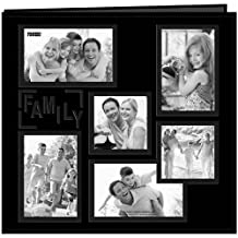 """Pioneer Photo Albums 12 x 12-Inch Collage Frame Embossed """"Family"""" Sewn Leatherette Cover Memory Book, Black"""