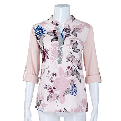 Casual Col Longues Femmes Blouse Chemise Blanc SANFASHION Automne Paillete Tops Plus Imprimer Manches de V Chic T Size Shirt Florale Mode Hiver Shirt qIv5wU5