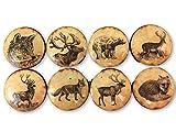 Set of 8 Vintage Woodland Animals Print Wood Cabinet Knobs