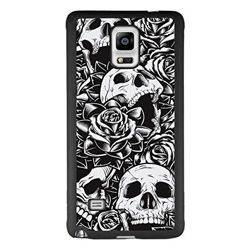 Samsung Galaxy Note 4 Case Black Skull Soft Black TPU Rubber and PC Anti-Slip Grip Cover Case, Shockproof Defend Protective Phone Case for Samsung Galaxy Note 4