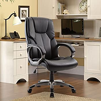 Beau Cloud Mountain Office Chair PU Leather Executive Computer Ergonomic Desk  Chair High Back Padded Swivel Adjustable
