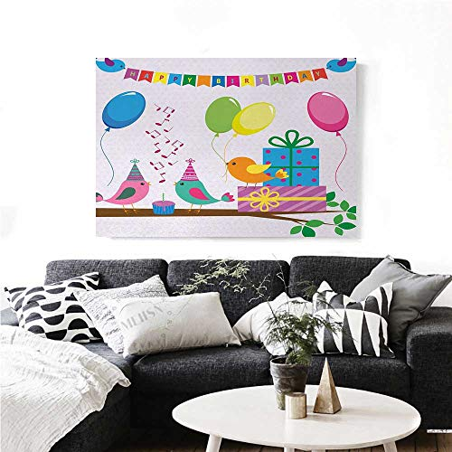Kids Birthday Canvas Wall Art Singing Birds Happy Birthday Song Flags Cone Hats Party Cake Celebration Wall Stickers 24