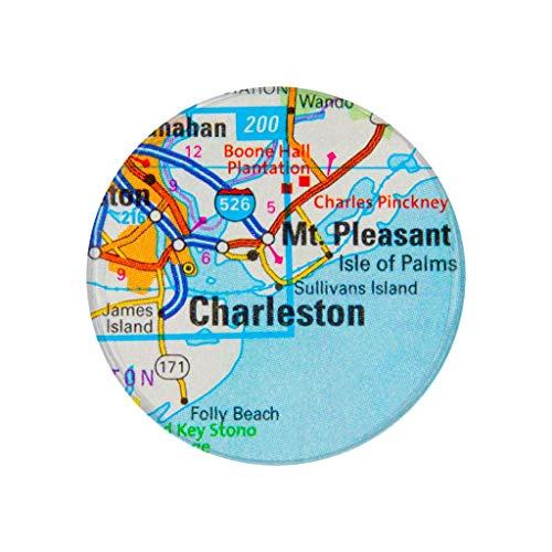 Charleston SC City Map Pocket Mirror Refrigerator Magnet or Pinback Button
