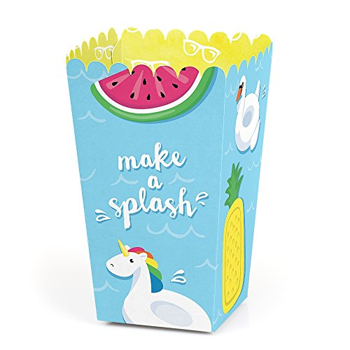 Make A Splash - Pool Party - Summer Swimming Party or Birthday Party Favor Popcorn Treat Boxes - Set of 12