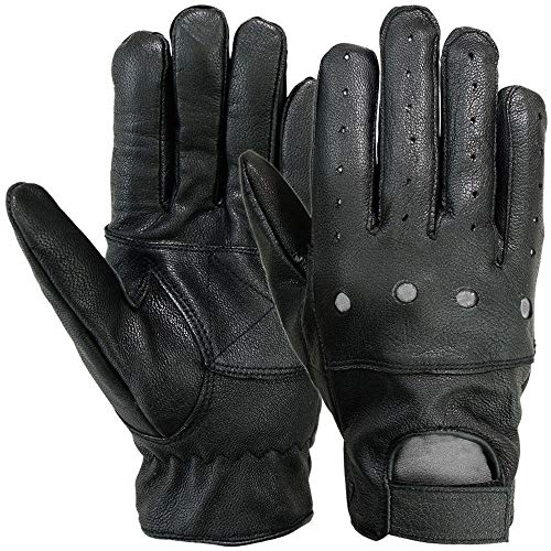 MRX Mens Driving Gloves Basic Outdoor Glove Soft Goat Leather Full Finger, Black (X-Large)