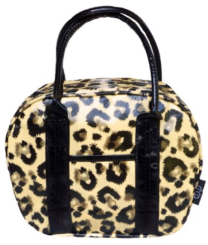 Mini Bowler Lunch Bag - Insulated Purse Tote, Leopard (Perfect Bowler Purse)