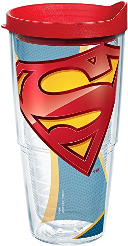 Tervis 1160206 Superman - Logo Tumbler with Wrap and Red Lid 24oz, Clear