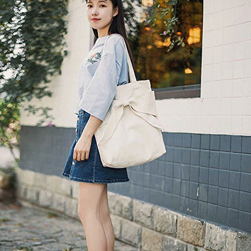 Tote Solid Women Large Handbags Bowknot Bag Beige Shopping Canvas Student Book Nurse Dxlta Capacity Shoulder fHwEgwq