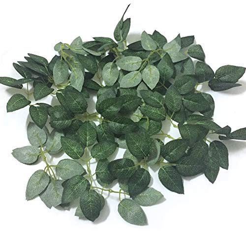 J-Rijzen Jing-Rise 50PCS Artificial Rose Leaves Silk Greenery Fake Plant Leaf for Wedding Bouquets Centerpieces Birthday Party Decorations Rose Vine Garlands Wreath Supplies