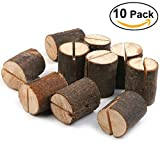#2: Haperlare 10pcs Wooden Table Number Holders Wooden Place Card Holder Wooden Wedding Card Holder Made of Natural Hardwood Wooden Card Holder for Home Birthday Party Rustic Wedding Decorations (type1)