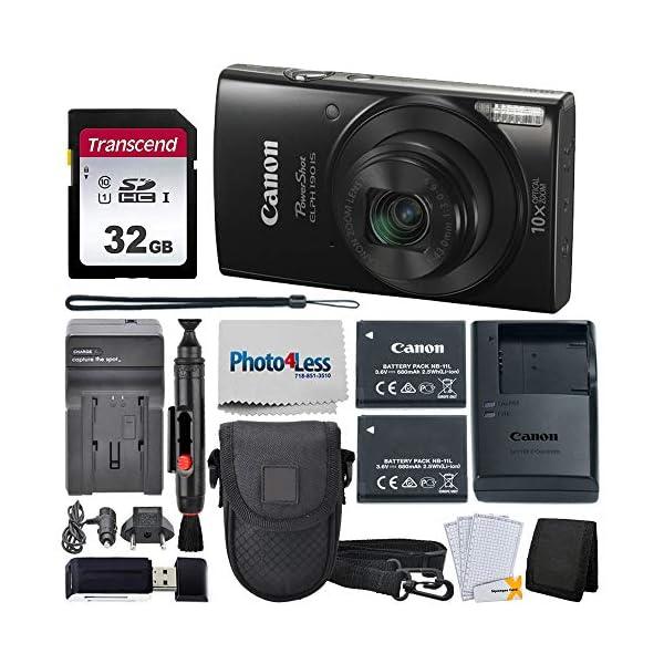 Canon PowerShot ELPH 190 Digital Camera + Point & Shoot Camera Case + Transcend...