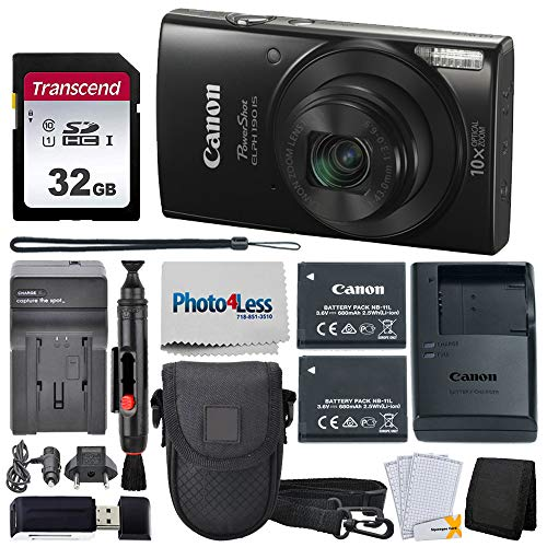 Canon PowerShot ELPH 190 Digital Camera + Point & Shoot Camera Case + Transcend 32GB SD Memory Card + Extra Battery & Worldwide Travel Charger + Top Value Accessory Bundle!