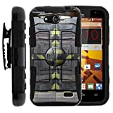 TurtleArmor | Compatible for ZTE Speed Case | N9130 [Hyper Shock] Combo Shield Hybrid Armor Holster Belt Clip Case Hard Shell Kickstand Silicone Alien and UFO Series - Aircraft Door