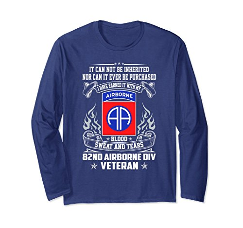 Airborne Long Sleeve T-shirt (Unisex 82nd Airborne Division Veteran Tshirt Large Navy)
