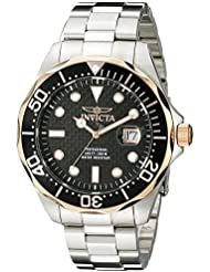 Invicta Mens 12567 Pro Diver Black Carbon Fiber Dial Stainless Steel Watch
