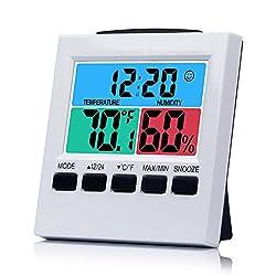 Humidity Meter Desk Digital Clock Bedroom Clock with Temperature Weather Cute for Living Room