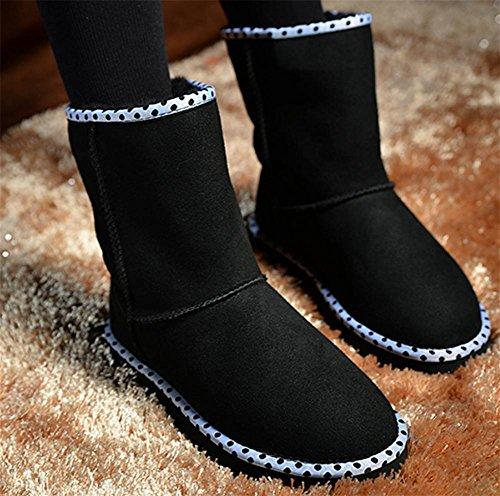 SONGYUNYAN Damen Lamm Fell Leder halten Warm verschleißfeste Zylinder im klassischen kurzen Schaffell Stiefel 3