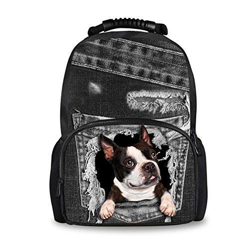 Coloranimal Black Denim Boston Terrier Big Laptop Backpack for Women Men Travel Bag