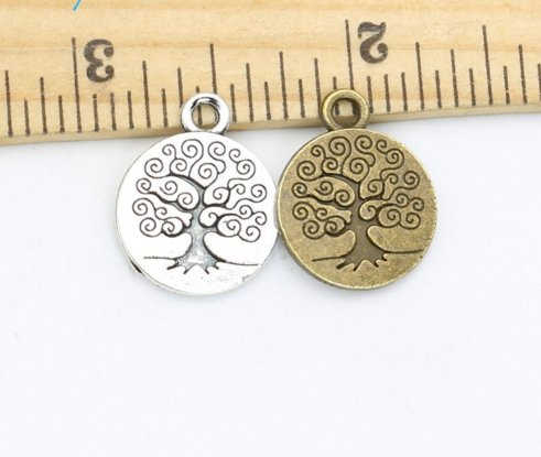 20pcs Tree of Life Charms Pendants for Jewelry Making Vintage Antique Silver Bronze Plated DIY Handmade 19x15 mm (NS585) Antique Silver Tree Pendant