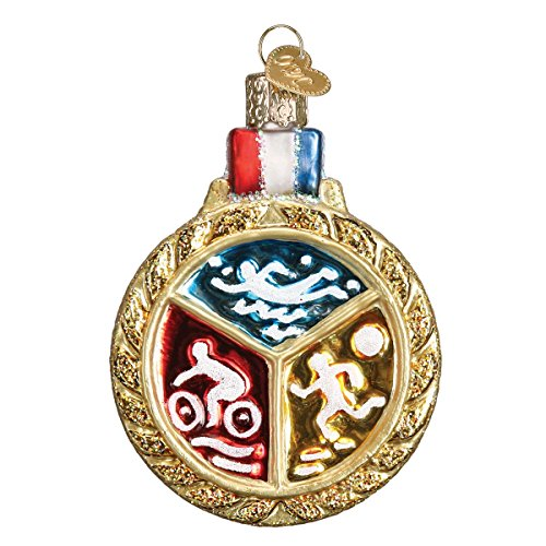Old World Christmas Glass Blown Ornament Triathlon Medallion (36201) (Best Triathlons In The World)