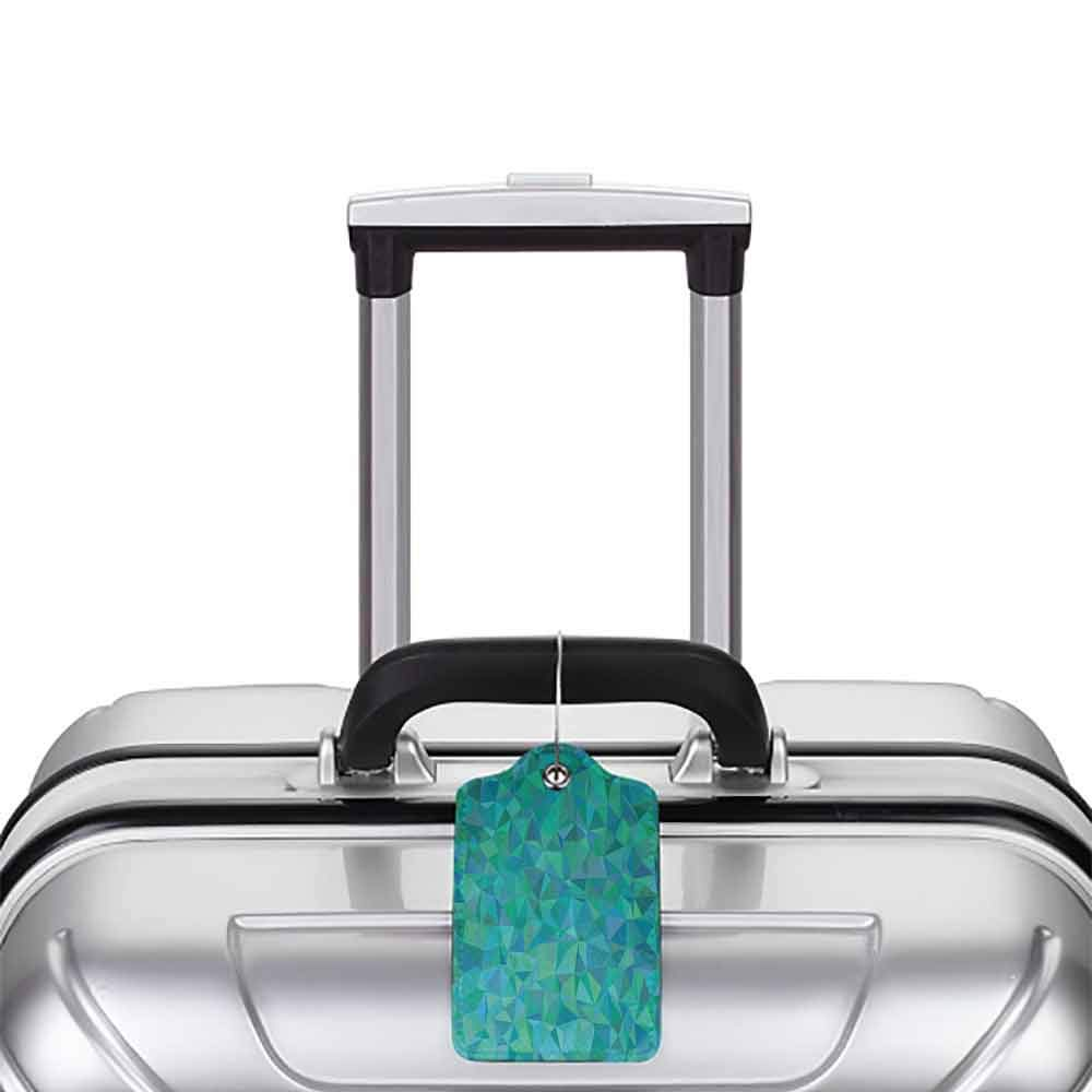 Soft luggage tag Teal Decor Abstract Irregular Triangle Mosaic Design Geometrical Modern Art Illustrated Pattern Bendable Green Navy W2.7 x L4.6