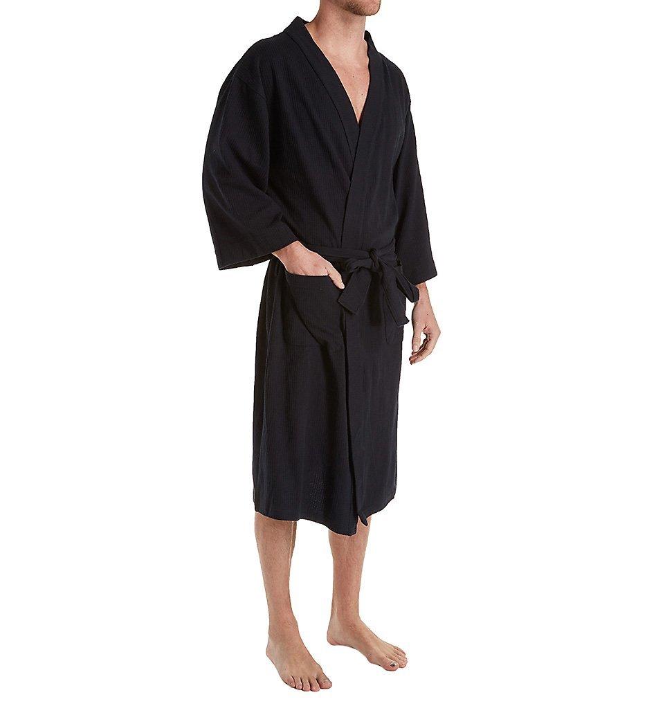 Hanes Solid Waffle Knit Spa Robe (5071) O/S/Black