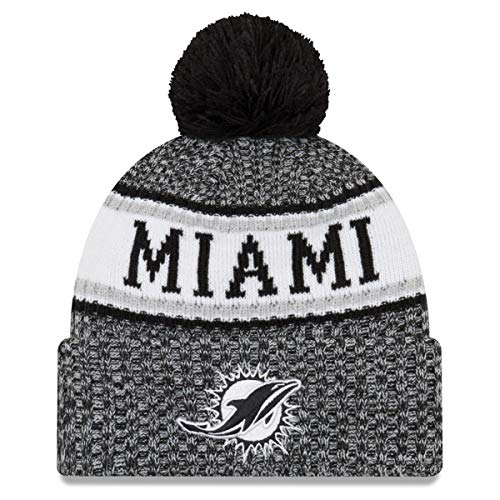 ba9e55030048e New Era Miami Dolphins Black   White Sport Knit NFL 2018 Beanie Unisex Hat