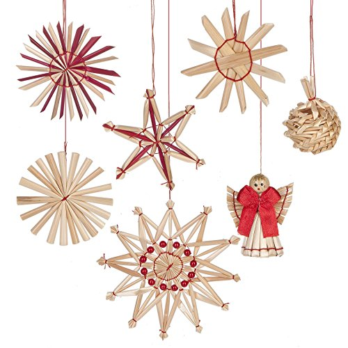 (Straw Festive Holiday Designs Christmas Ornaments 48 Piece Boxed Set)