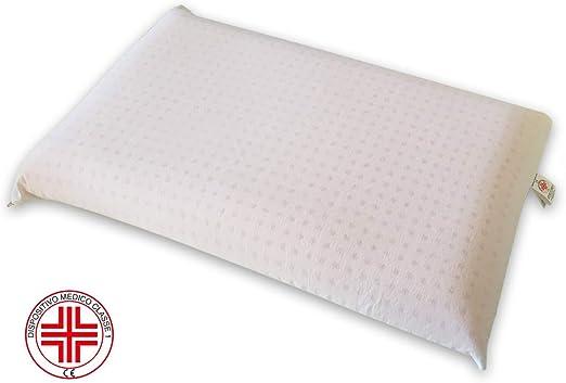 Marcapiuma Bio Clean Oreiller M/émoire de Forme 100/% Made in Italy Housse 100/% Coton Dispositif M/édical Lavable en Machine /à Laver Super HYGIENIQUE et Frais Coussin Mousse m/émoire Bio