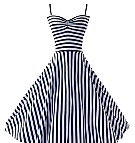 60s Outfits For Women (Betusline Women's Vintage 50s 60s Audrey Hepburn Nautical Stripes Full Dress)