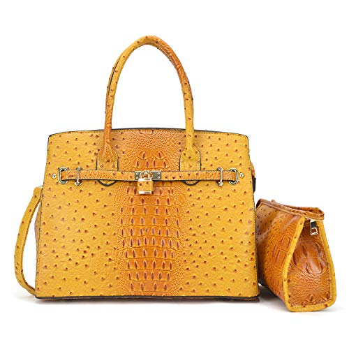 Top Ostrich With Bag Set Large Handle Bag 2 Cosmetic Leather Satchel Women Shoulder Leather Designer Pieces Handbag yellow Purse xzwRqTZO