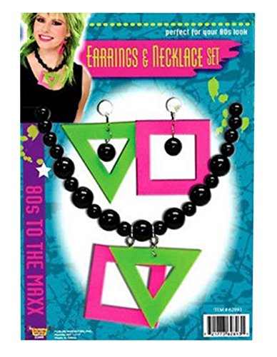 Forum Women's Neon Earrings and Necklace Set, Multi,