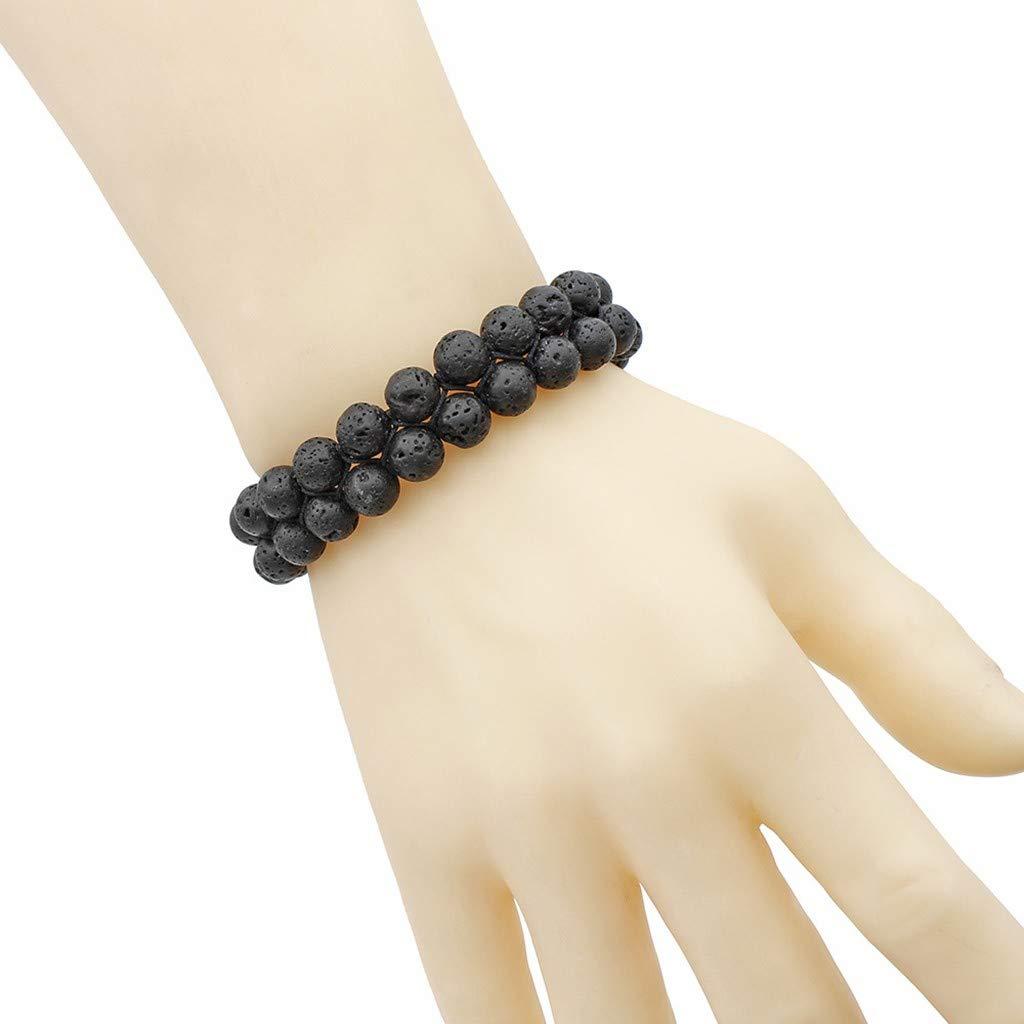 Handmade Bracelet,WensLTD Men Women 8mm Lava Rock Chakra Double Beads Elastic Natural Stone Agate Bracelet
