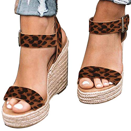 XMWEALTHY Women's Wedge Sandals Casual Sandals Shoes Summer Ankle Buckle Open Toe Wedges Heels US Size 8.5 - Womens Dress Handbag