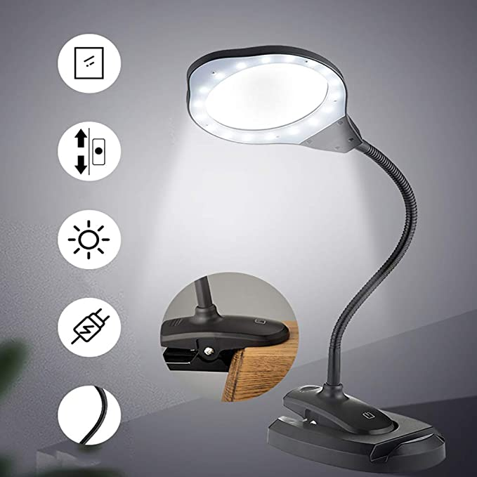 Nicekko 2X / 4X Tipo De Clip Lupa LED De Gafas con Luz Brillante ...