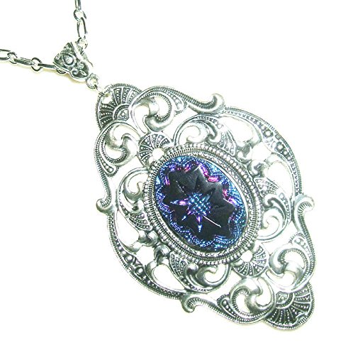 - CARNIVAL GLASS Necklace VICTORIAN Pendant Silver Plt Vintage Style