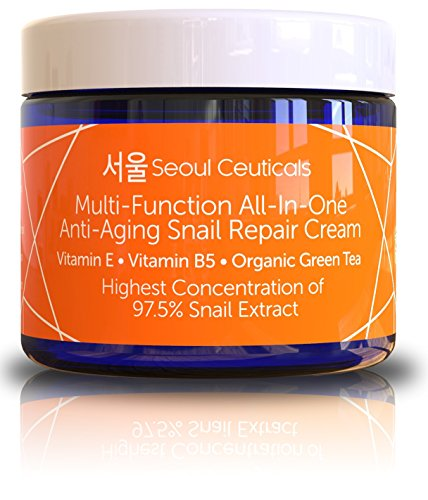 Seoul Ceuticals Korean Skin Care Snail Repair Cream Moisturizer - 97.5% Snail Mucin Extract - All In One Recovery Power For The Most Effective Korean Beauty Routine - 2oz