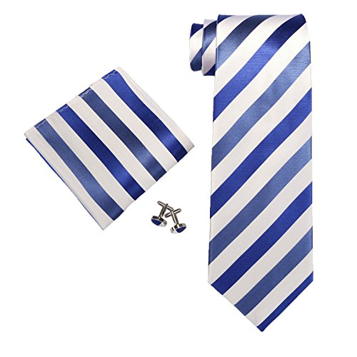 "Landisun SILK Stripes Mens SILK Tie Set: Tie+Hanky+Cufflinks 91A Bright Blue White, 3.25""Wx59""L"