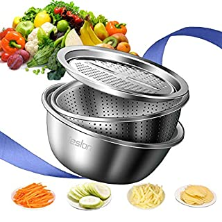 Jeslon 11 Inch Stainless Steel Drain Basket Vegetable Cutter, 3 in 1 Kitchen Multipurpose Julienne Grater - Salad Maker Bowl