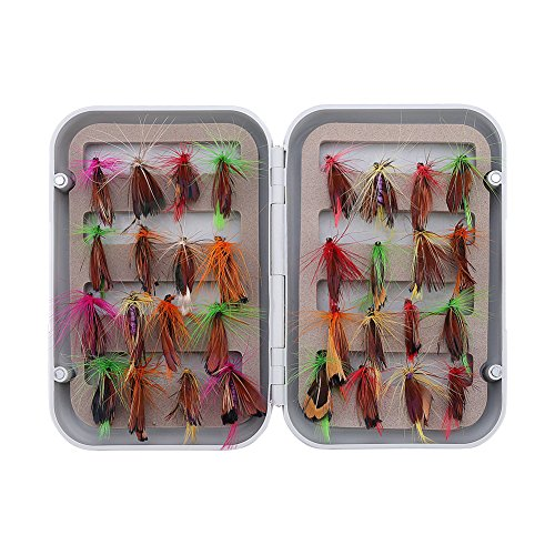 SbuyCoo 32pcs Wet Flies Fly Fishing Flies Kit Bass Salmon Trouts Flies Floating, Woolly Bugger Nymph Housefly, Sinking Assortment with Fly Box