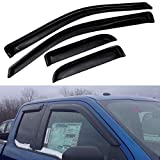 Atomsonic WV_16_F250_supercab Black Sun/Rain Guard Vent Shade Window Visors for 2016-2018 Ford F250 F350 F450 Super Duty Tape-On Wind Deflector 4pc (Super Cab Only), 4 (Non-Carb Compliant)