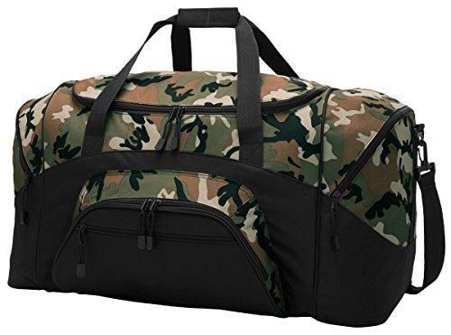 Port & Company Color Block Sport Zipper Duffel Bag_Camo/Black_OSFA