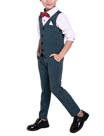 e534639e2190 YUFAN Boys Summer Pinstripe Suits Vest Set 2 Pieces Vest and Pants Shorts  Set 3