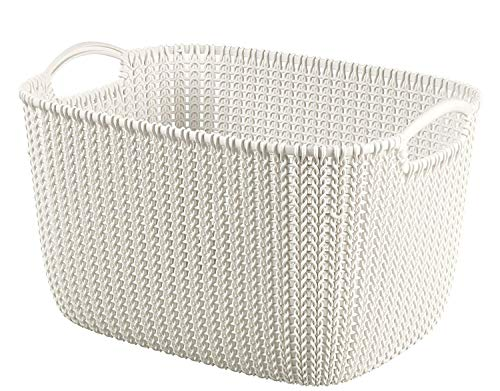 Curver Knit Rectangular Storage Basket, Oasis White, 19 - Knit Basket