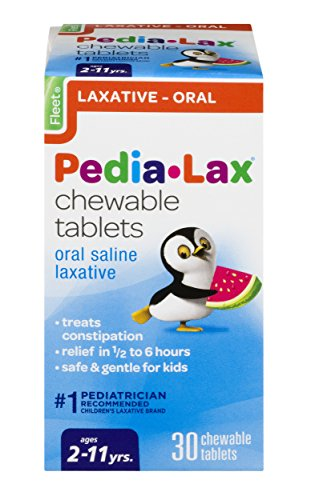 (Pedia-Lax Oral Saline Laxative | Gentle & Safe Constipation Relief for Kids | Watermelon Flavor | 30 Chewable Tablets | Pack of 24)